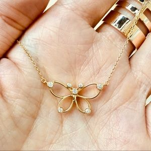 Tiffany & Co butterfly pendant necklace 18k